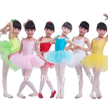 Дети танец тюль платье балета девушки платье фитнес одежды износ производительность купальник костюм