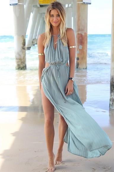 2015 New Arrival Sexy Women Summer Dress Boho Long Maxi Party Dress Beach Dresses Chiffon Dress H0827