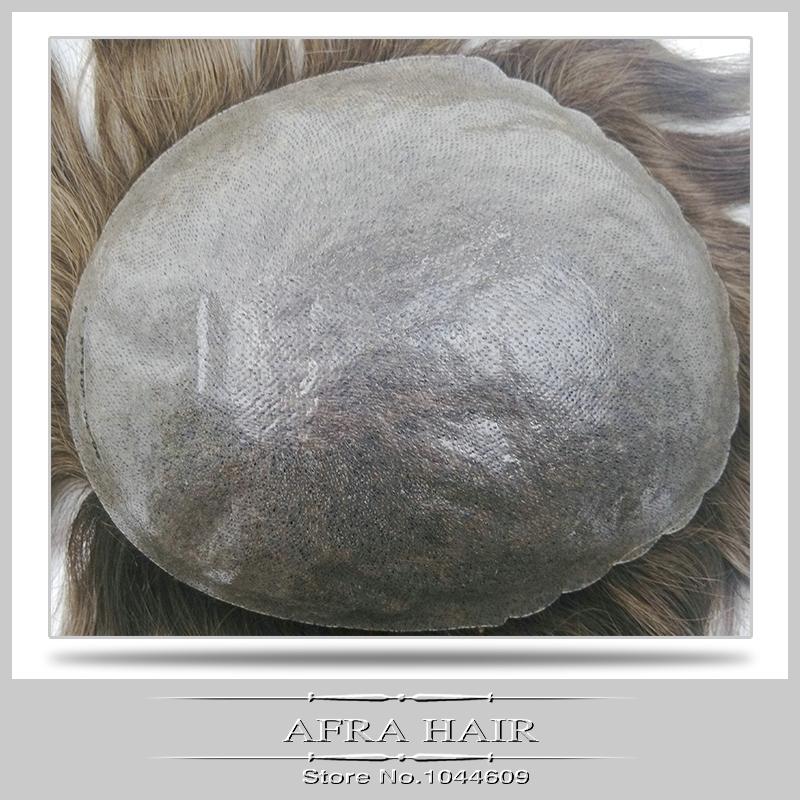 Skin pu toupee light brown super soft hair piece real hair 7x9(China (Mainland))