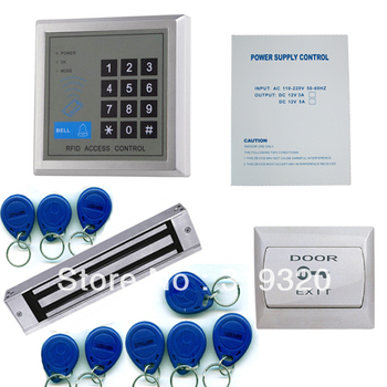 Single stand alone 125KHZ FRID card access control system ID card reader with power supply EM lock and exit button
