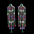 18k Gold Plated Fashion Jewellery Luxury Colorful Cubic Zirconia Tassel Big Long Earrings For Women