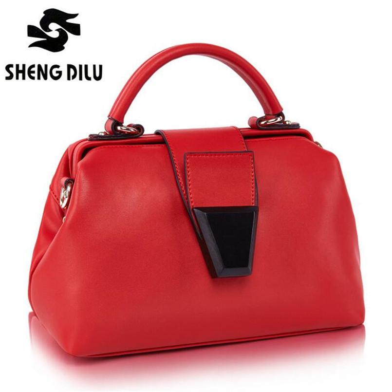 Free Shipping 2015 Women Genuine Leather Candy Color Doctor Bag European Handbag Brands Fashion Elegant Shoulder Messenger Bags<br><br>Aliexpress