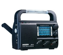DEGEN FM/FML MW SW Crank Dynamo Solar Emergency Radio World Receiver hand power generated led illuminating Degen DE16