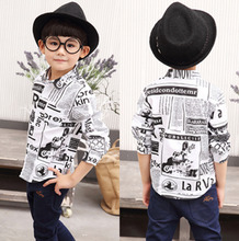 2016 baby boys clothes child long-sleeve shirt kids blouse cartoon print casual 100% cotton top casual all-match boys shirts