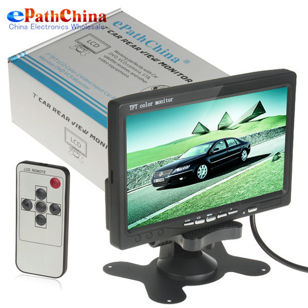 "7"" TFT Color LCD Headrest Car Parking Rear View Reverse Monitor With 2 Video Input 2 AV In For DVD VCD Reversing Camera(China (Mainland))"