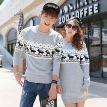2015 Christmas sweaters Korean Men's/Women Round collar long sleeve pullover sweaters Plus Size matching deer Couple sweaters(China (Mainland))