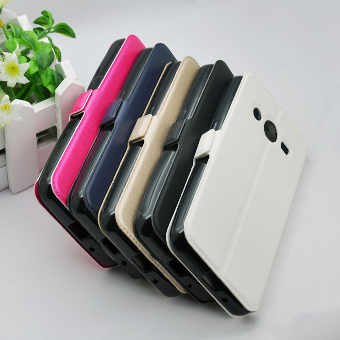 PU Leather Phone Case For Samsung Galaxy Core 2 G355H Core2 II G355 Windows View Folding Cover In Stock Promote Free Shipping(China (Mainland))