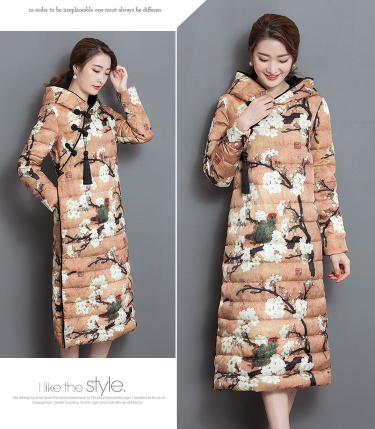 Retro Quality Autumn And Winter Warm Jacket Women Chinese Print Style Hooded Thick Cotton Coat For Female Parka Coat