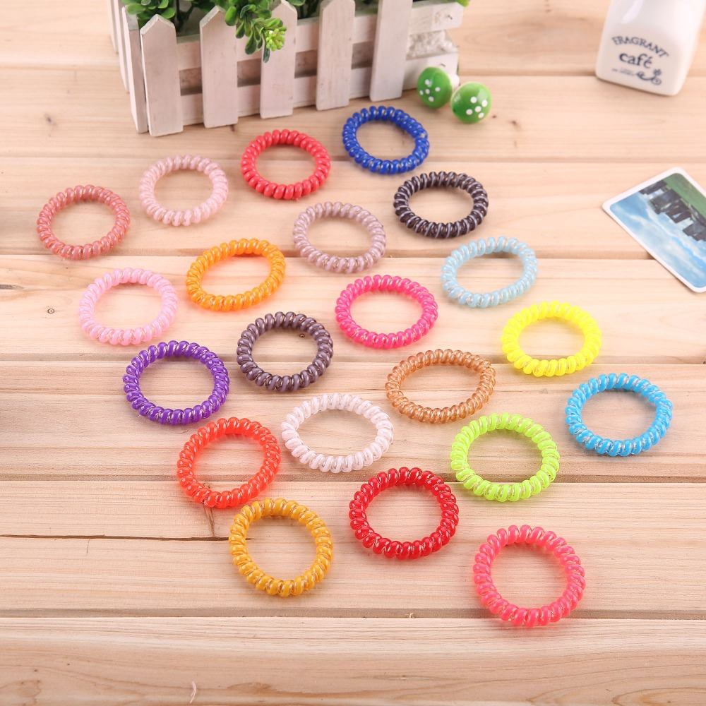 10pcs/lot Telephone Wire Line Cord Invisi Bobble Traceless Rubber Band Hair Ties Women Girl Elastic Hair Bands Hair Scrunchies(China (Mainland))