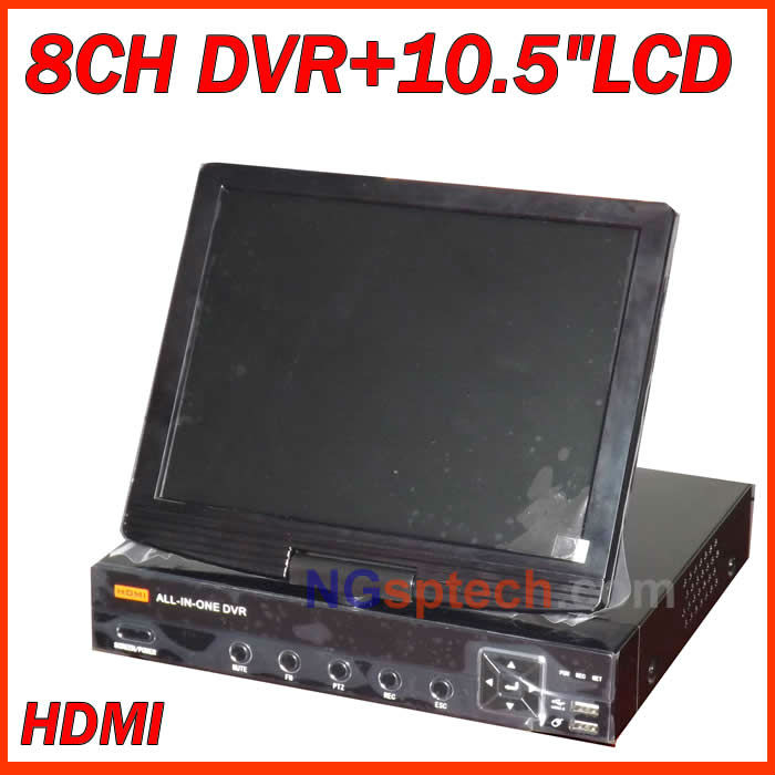 """HDMI 8 ch D1 cctv realtime DVR with 10.5"""" Lcd monitor, Support iPhone,blackberry, Windows Mobile, Android, Symbian(China (Mainland))"""