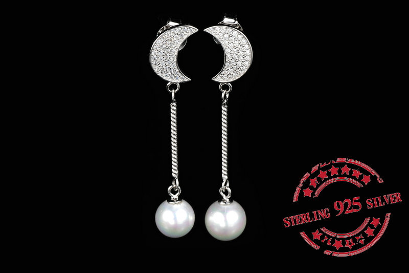 Starland 2016 fashion fine jewelry Pearl earrings for women Moon shape 925 Sterling Silver Long earrings Gift(China (Mainland))