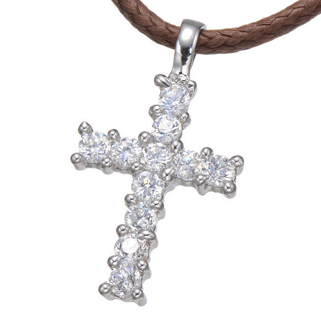 Cross Necklace Women/Men Jewelry Factory Direct Trendy Silver Plated Micro Pave CZ Cross Pendant Necklace Women(China (Mainland))