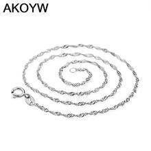 S925 sterling silver necklace female models wave chain of high-end women's jewelry, vintage jewelry silver jewelry top