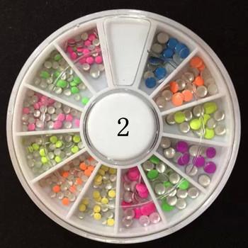 Одной коробке 12 цветов мода ногтей украшения круглые заклепки плоским аксессуары ...