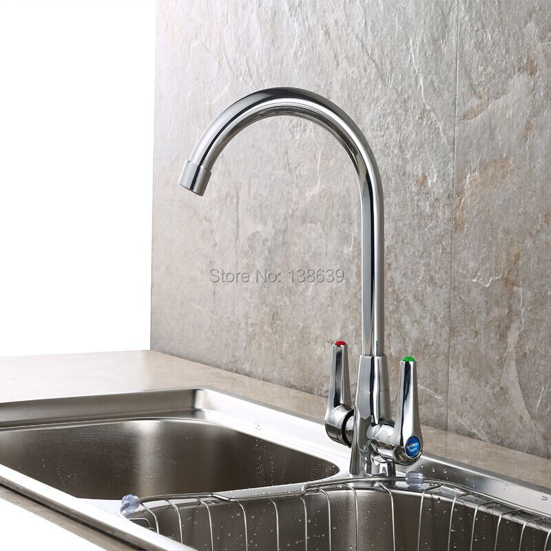 European Style Kitchen Faucet : Free shipping european style brass chrome kitchen faucet handles sink tap mixer
