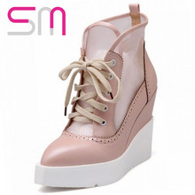 2016 High Wedge Sandals Lace Up Sandals Vintage Cut-out Mesh Platform Sandals Elegant Thick Sole Pointed Toe Shoes Fall Shoes(China (Mainland))