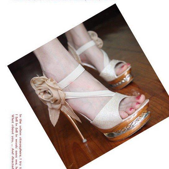 2012 Fashion big flower crystal high heel sandals Super high heels  Golden wedding shoe HH075 FREE SHIPPING