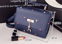Korean Style Fashion Shoulder Bag Women Sweet Style Casual PU Leather Chic Handbag Ladies Lovely Printing Casual Crossbody Bag
