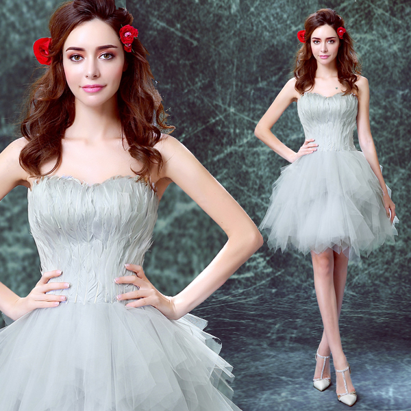Grey Feather dress Princess pageant gowns short evening party dress ever pretty sexy prom dresses robe de soiree formal dress(China (Mainland))