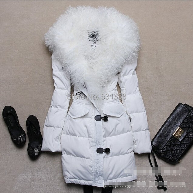 2014 Winter Coat Women Down Jacket Wool Detachable Collar Ovo Slim Fit Long Down Jacket Thick Slim Coat