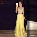 Yellow Chiffon Two Piece Prom Dresses 2016 O Neck Crystal Beaded Floor Length Long Evening Party