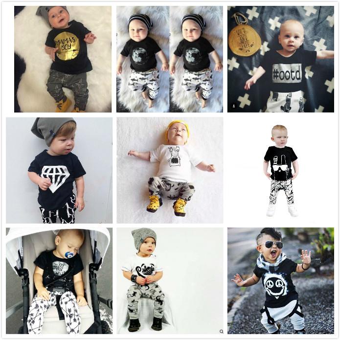 2016 Summer Brand Baby Boys Clothing Set Short Sleeve Black Baby Boy Clothes Set Children Letter T Shirt Pant 2pcs Set(China (Mainland))
