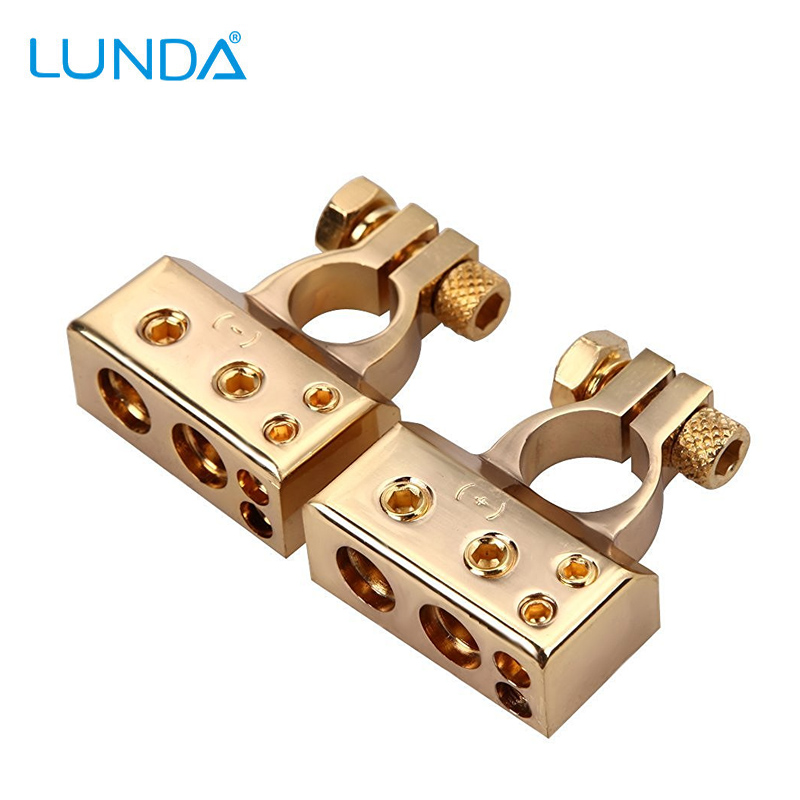 LUNDA Gold-plated Car Battery Terminal Positive /negative Car battery jump starter Connector Battery Caps Terminal Connector(China (Mainland))
