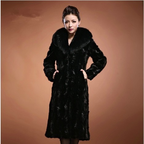 Free shipping 2015 Women's Fashion Raccoon dog Fur Coat with Fox Fur Collar Outerwear Lady Garment Plus X-Long female
