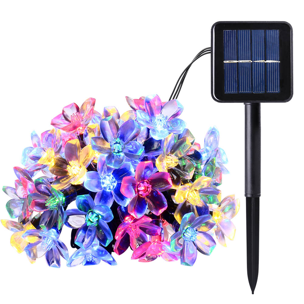 New 50 LEDS 7M Peach Ledertek Flower Solar Lamp Power LED String Fairy Lights Solar Garlands Garden Christmas Decor For Outdoor(China (Mainland))