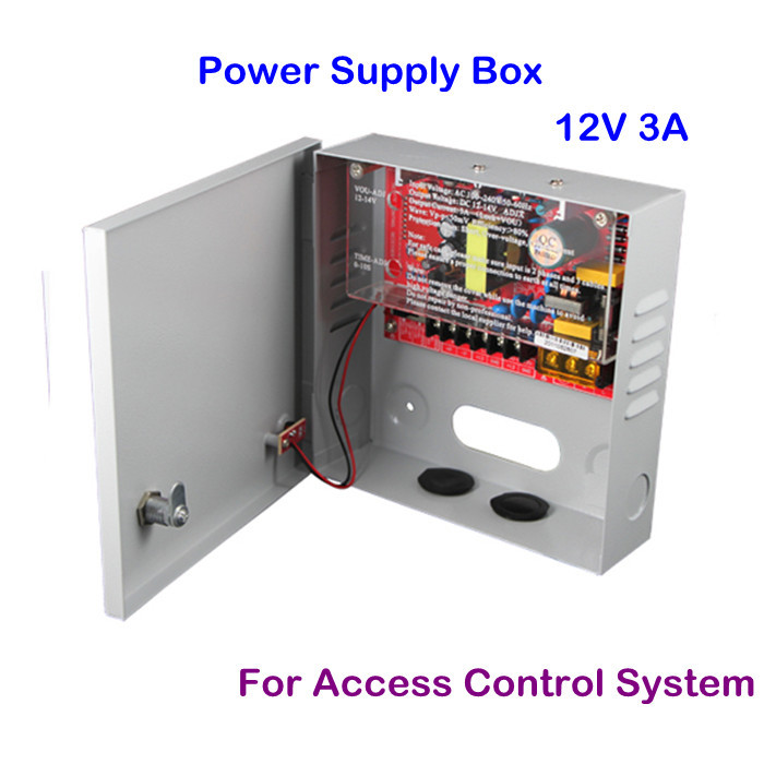 Easily Operation CCTV 12 Volt DC 3A Access Control System Power Supply Box Free Shipping(China (Mainland))