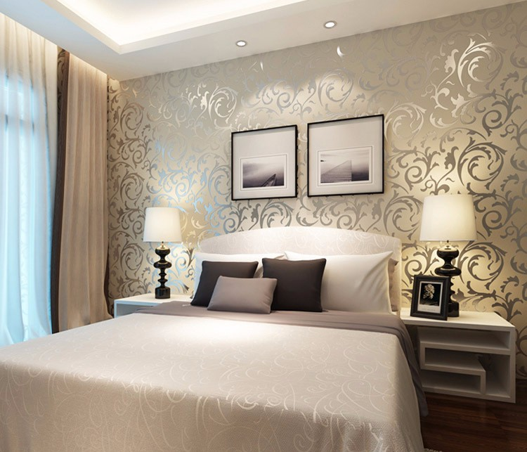 Wholesale New Luxury Silver Grey Golden Reflective Wallpapers Living