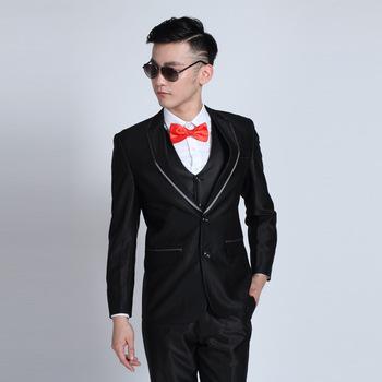Мужская мода марка коктеила смокинги для мужчин блестящий-черных жених Bestman свадебные костюмы куртка брюки джентльмен костюм Trajes де Novio