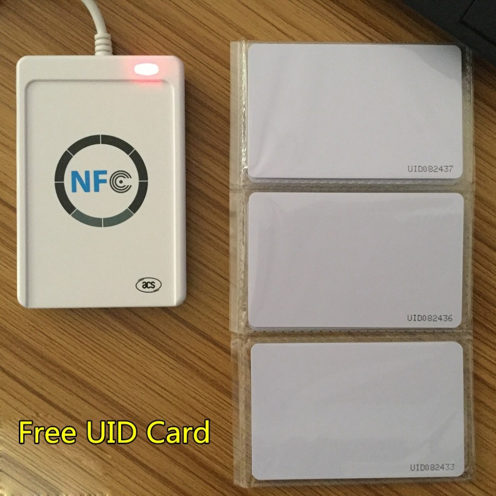 USB Reader ACR122U A9 NFC RFID Smart Card Reader Writer for 4 Types of NFC ISO/IEC Tags Access Control 13.56MHz +1 Free UID Card(China (Mainland))