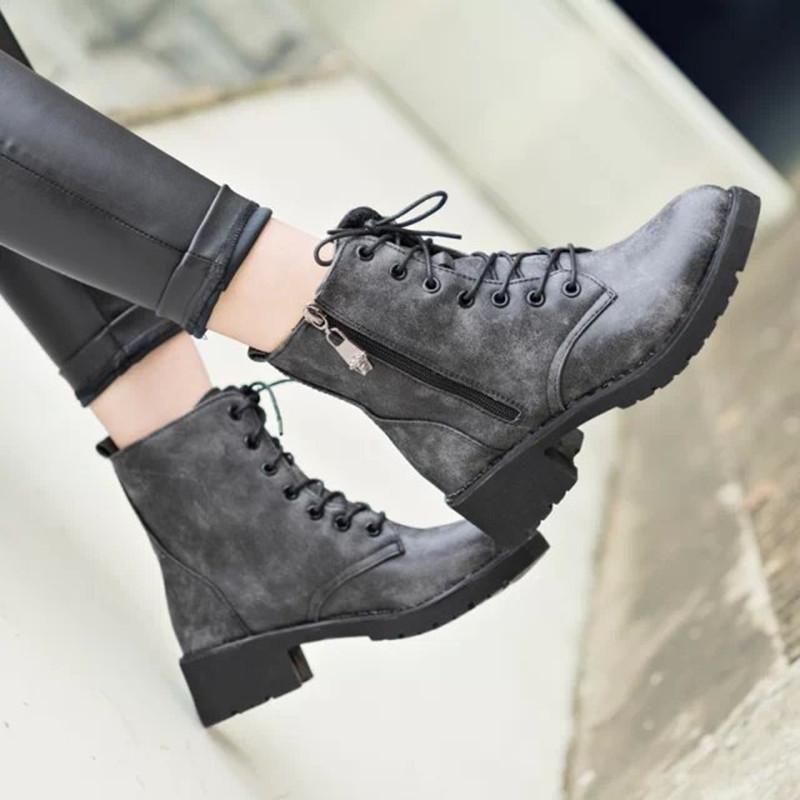 2015 Autumn &Winter Women Lace Mid Calf Martin Boots Combat Punk Ankle velvet Flat Shoes nubuck leather martin boots - HAPPYHOUR QUALITY Store store