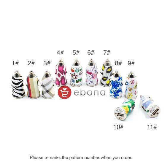 1.2A Output Art Painting Mini USB Car Charger Adapter for iPhone Samsung HTC and Others(China (Mainland))