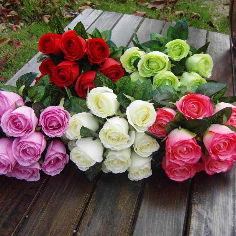 10pcs 11 heads Sweetheart Rose 6 color simulation flower suit simulation plant simulation flower artificial flower silk wedding(China (Mainland))