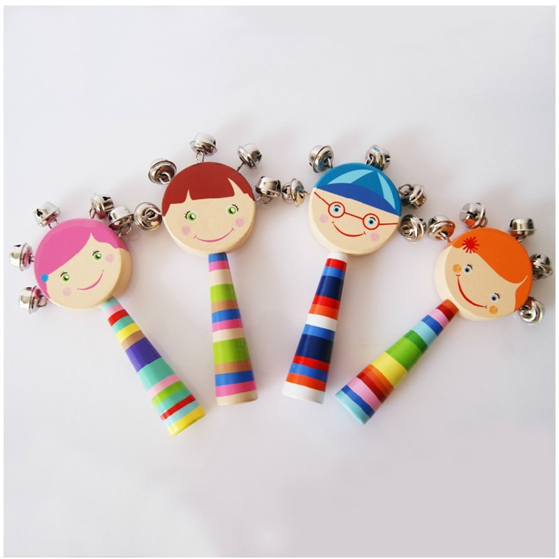 Free shipping Children's music Wooden hand bell rattle Free shipping kids educational toys, Baby Rattles & Mobiles(China (Mainland))