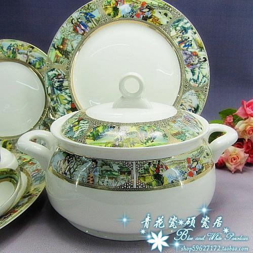 Buy Jingdezhen ceramic tableware bone china tableware handmade gilt 56 head of a dream of Red Mansions. cheap