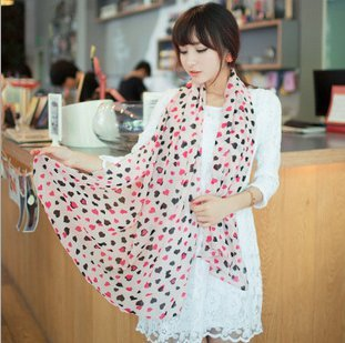 Girl Lady Decorative Scarf Long Soft Wrap Shawl Black and Pink Hearts Print v Long Scarf Scarves Stole(Pink)(China (Mainland))