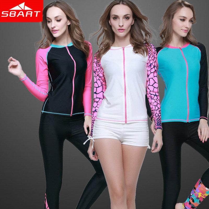 SBART Rashguard Women Swim Shirts Long Sleeve Woman Rash Guard Zip Lycra Surf Shirt Swimming Suit Jacket Wetsuits Top Upf 2015 H(China (Mainland))