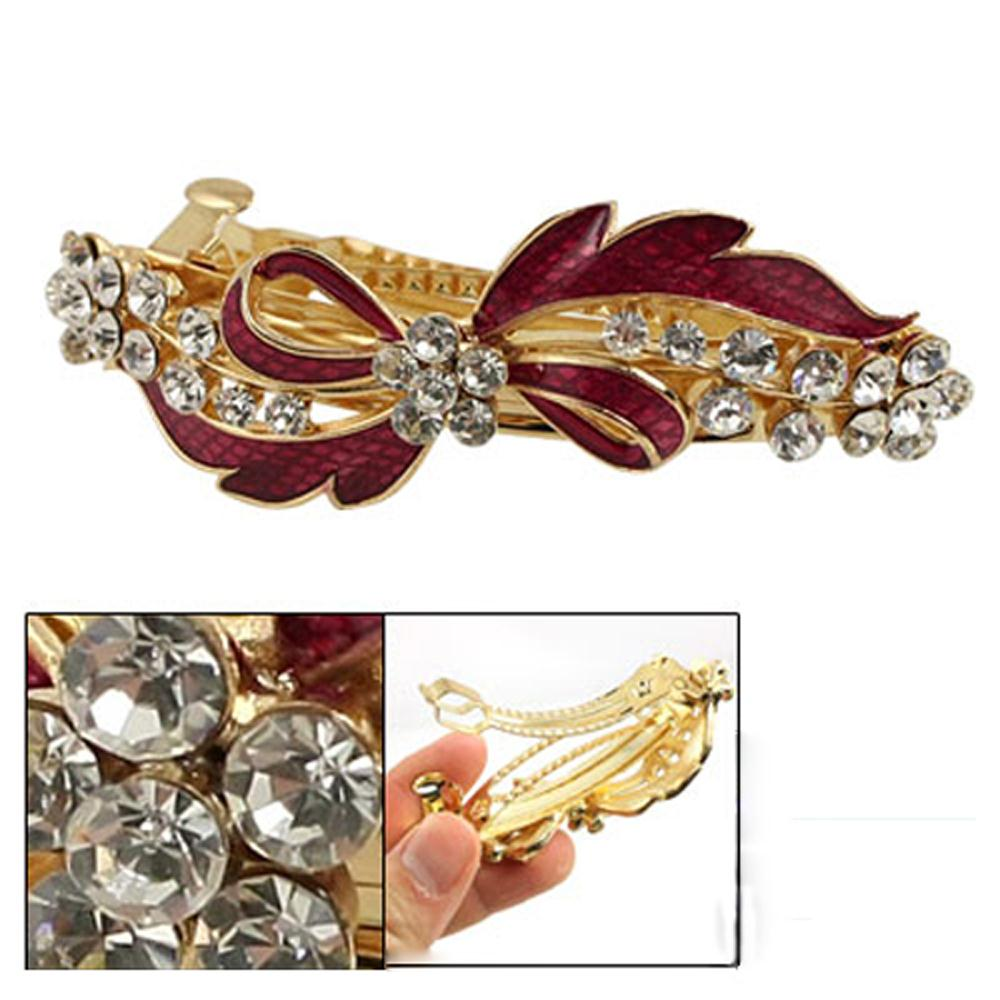 New Queen! Rhinestone Detail Red Bowknot Metal Hair Clip Barrette Gold Tone(China (Mainland))