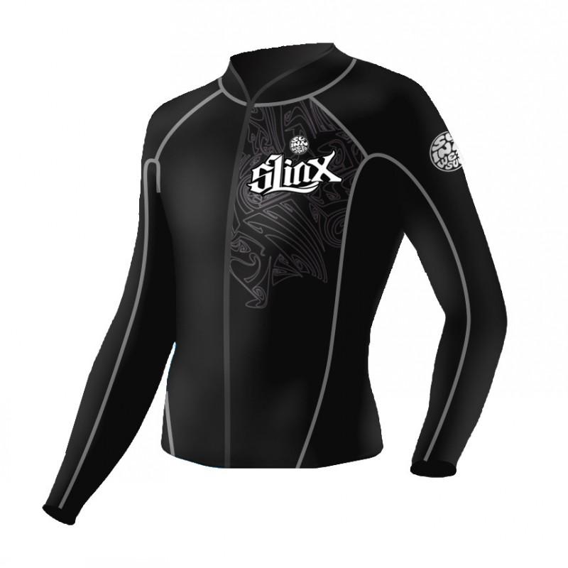 Brand NEW Men's 2mm Neoprene Wetsuit Top Jackets Black Printed Cool Fashion Front Zipper Long Zipper(China (Mainland))