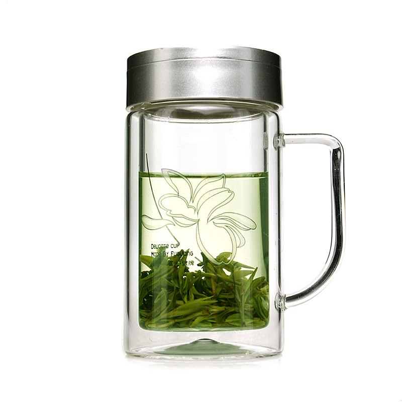 Creative Brief Drinkware Mugs Double Wall Glass Cup Coffee Tea with Lid,handgrip and Infuser Transparent 320ML Office Cups Gifts(China (Mainland))