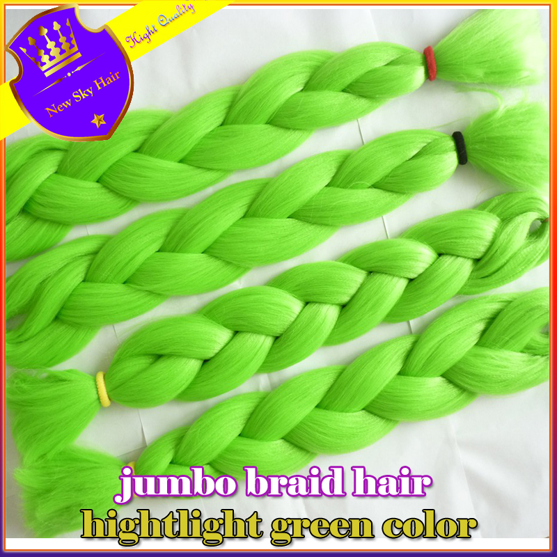 free shipping,6pc 24inch 100g/pcs green kanekalon braiding hair extensions synthetic expression braiding hair<br><br>Aliexpress