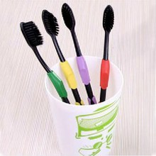 4PCS Double Ultra Soft Toothbrush Adults Odontologia Bamboo Charcoal Nanometer Fuzz Toothbrush Oral Care Free Shipping