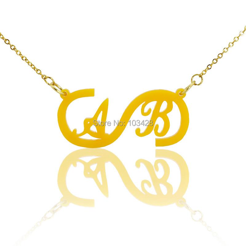 Collar infinito con Dos Iniciales Nombre Colgante, Collar de Oro Encanto Infinito Amor Mejores Deseos