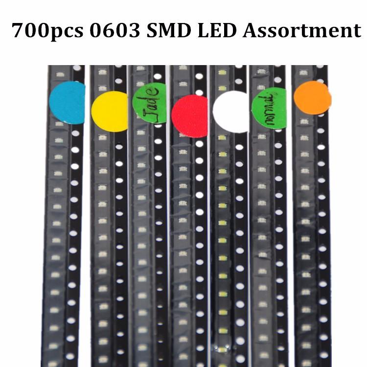 700pcs LED SMD 0603 LED Assortment RedGreenBlueYellowWhiteEmerald-greenOrange 100pcs each SMD 0603 LED Diod Pack (2)