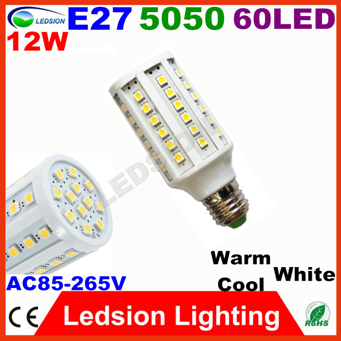 20pcs/lot 110 220V Lampada modern Led Corn bulb E27 12W 60 Smd 5050 Bianco Freddo light 85-265V cool warm white indoor luminaire(China (Mainland))