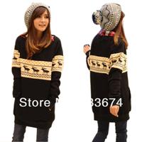 женщины оленей печати теплый длинный пуловер свитер платье crewneck топы с длинным рукавом