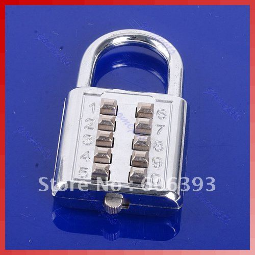 5 Digit Push-Button Combination Number Luggage Travel Code Lock Padlock Silver(China (Mainland))